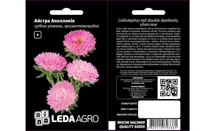 Астра хризантемовидная Аполлония серебряно-розовая Leda Agro