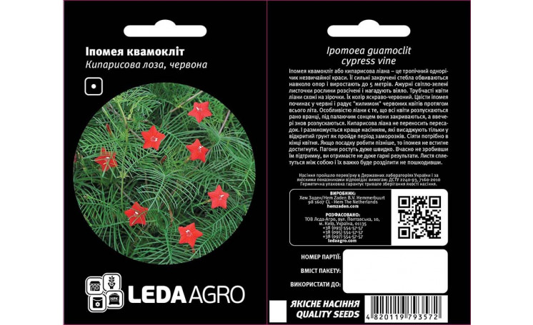 Ипомея квамоклит Кипарисовая лоза красная Leda Agro