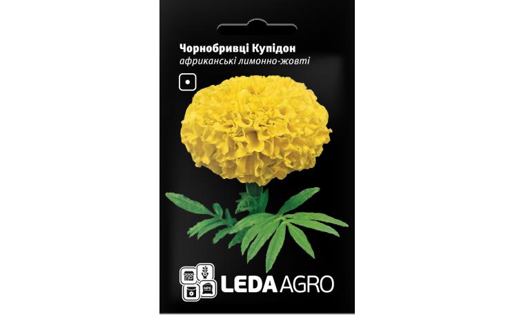 Бархатцы Купидон африканские лимонно-желтые Leda Agro
