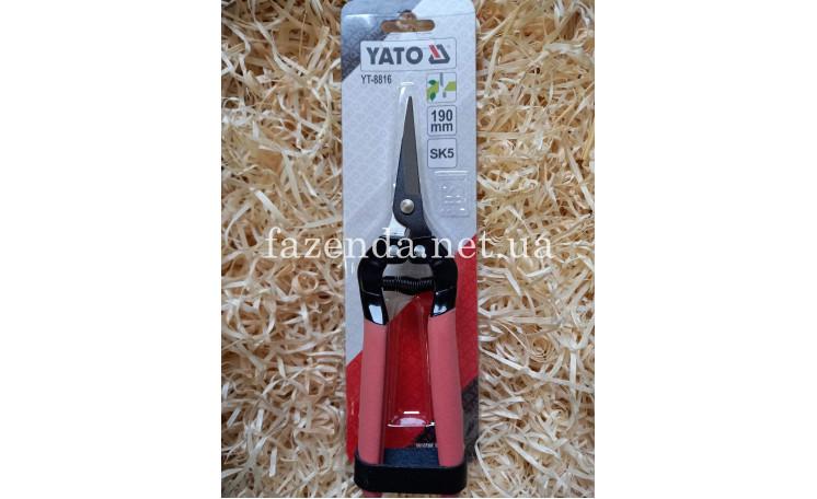 Секатор для кустов 190 мм. прямой YT-8816 YATO