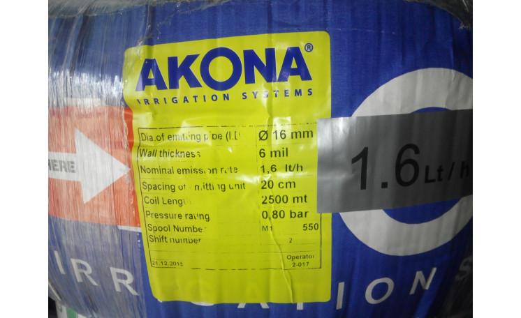 Капельная лента Акона Дрип Лайф Akona Drip Life 6mil 20см 1,6 л/ч